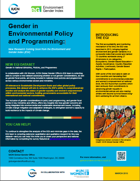 EGI Gender in Environmental Policy and Programming Fact Sheet