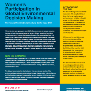 New EGI data on women's participation in global environmental decision making