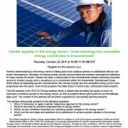 Webinar: Gender equality in the energy sector