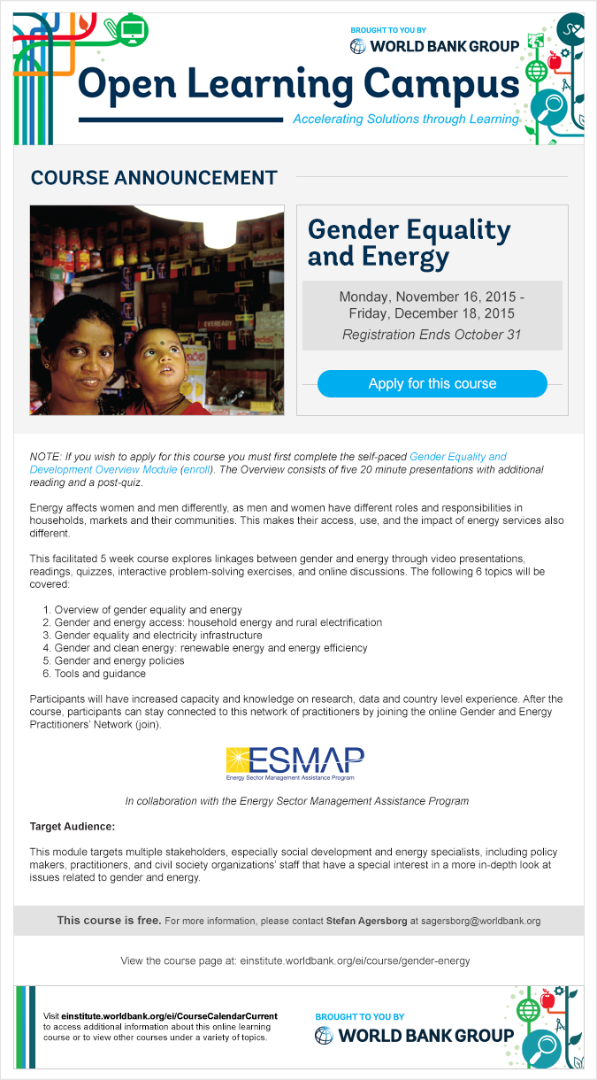 Gender & Energy Course