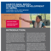Hariyo Ban: REDD+ for Economic Development in Nepal: A national, local-level initiative