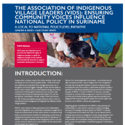 The Association of Indigenous Village Leaders (VIDS): Ensuring Community Voices Influence National Policy in Suriname: A local to national policy-level initiative