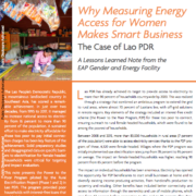 Why Measuring Energy Access for Women Makes Smart Business: The Case of Lao PDR