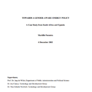 Towards a Gender-Aware Energy Policy: A Case Study from South Africa and Uganda