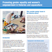 Promoting gender equality and women's empowerment in fisheries and aquaculture