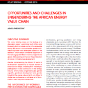 Opportunities and Challenges in Engendering the African Energy Value Chain